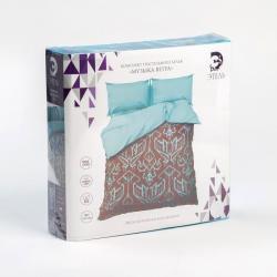 Комплект постельного белья Этель Музыка ветра, семейный, мако-сатин (цвет бирюзовый, коричневый)