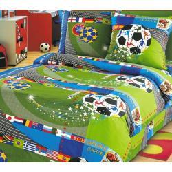 Комплект детского постельного белья Чемпионат 1, 1,5 спальный, бязь (цвет зеленый)
