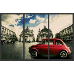 Алмазная вышивка (мозаика) триптих Красная машина в центре Рима, 60x90 см