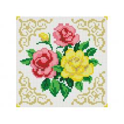 Мозаичная картина на подрамнике Маленькие розочки (квадратные камни), 20х20 см