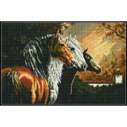 Алмазная вышивка (мозаика) Три лошади, 60x40 см