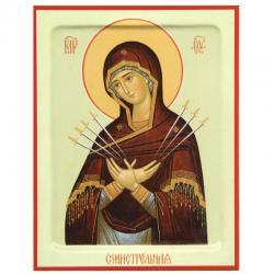 Икона Божия Матерь. Семистрельная, 140x190 мм