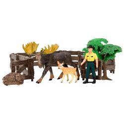 Игрушки фигурки в наборе серии На ферме, 6 предметов (рейнджер, лось, олененок ограждение-загон, дерево, камень)