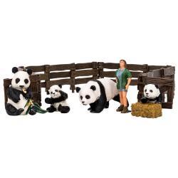 Игрушки фигурки в наборе серии На ферме, 7 предметов (зоолог, семья панд, ограждение-загон, инвентарь)