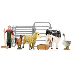 Игрушки фигурки в наборе серии На ферме, 8 предметов (фермер, корова, овца, петух, гусь, ограждение-загон, инвентарь)