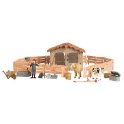 Игрушки фигурки в наборе серии На ферме, 17 предметов (ферма игрушка, бычок, баран, фермер, инвентарь)