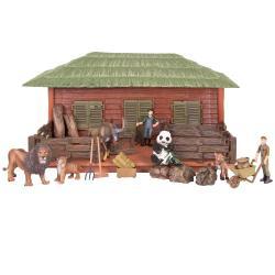 Игрушки фигурки в наборе серии На ферме, 19 предметов (ферма игрушка, львы, панда, тигренок, горный козел, фермеры, инвентарь)