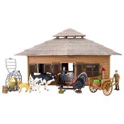 Игрушки фигурки в наборе серии На ферме (ферма игрушка, 21 фигурка домашних животных и птиц, фермеров и инвентаря)