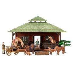 Игрушки фигурки в наборе серии На ферме, 14 предметов (ферма игрушка, львы, жирафы, фермеры, инвентарь)