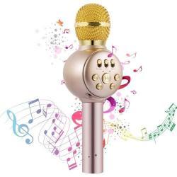 Беспроводной микрофон-караоке с динамиком MD-02, цвет золотой