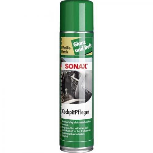 Очиститель-полироль для пластика аэрозоль Sonax. Глянцевый эффект Ваниль, 0,4 литра