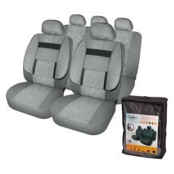 Чехлы для сидений Airline MONRO, универсальные, 11 предметов, повышенный комфорт, велюр (цвет темно-серый)
