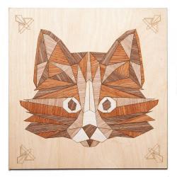 Картина на дереве в технике маркетри Мудрый кот