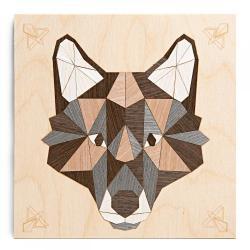 Картина на дереве в технике маркетри Серый волк