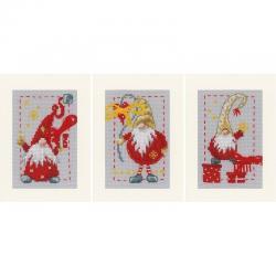 Набор для вышивания Vervaco Рождественские гномы, 10,5x15 см, арт. PN-0185078